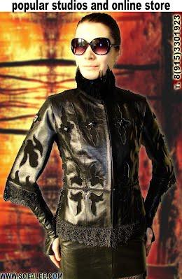Женственная кожаная куртка с вышивкой