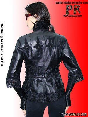 Красивая кожаная куртка с митенками из кожи