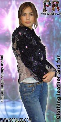 Женский кожаный жакет с мехом каракуля