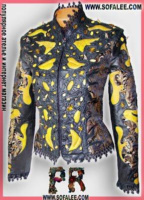 """сочетание кожи и парчи на женской куртке """"Янтарь"""" сшитой на средневековую тему"""