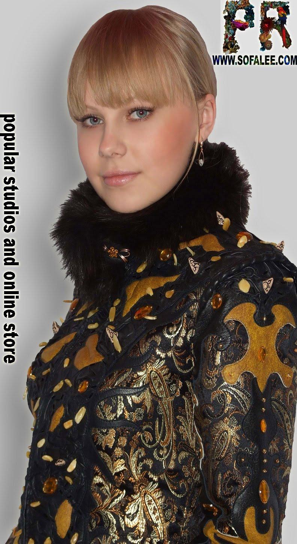 Элегантная кожаная куртка с вышивкой из янтаря