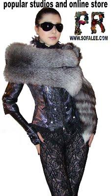 Меховой палантин из чернобурки,жакет кожаный