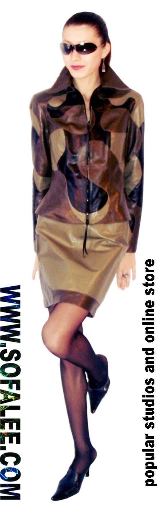 Костюм кожаный женский серо-зеленого цвета.  womens suit of leather