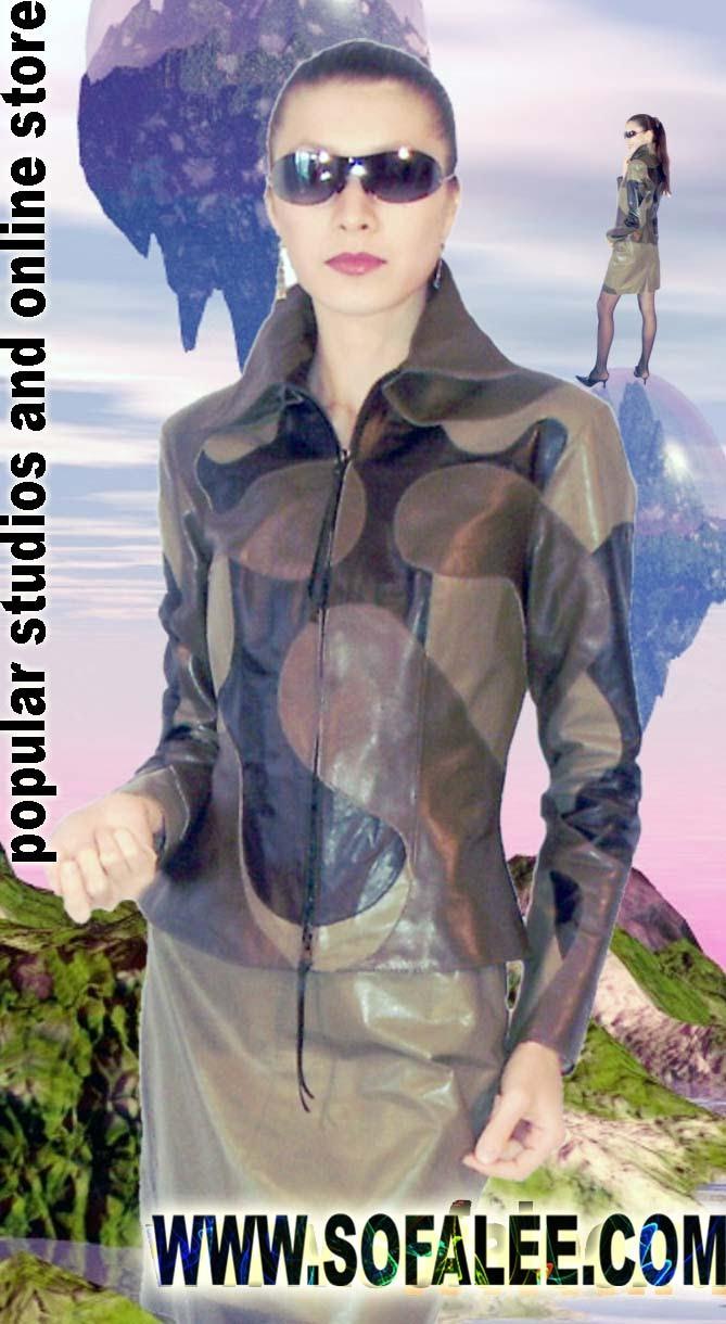 Женский юбочный  костюм из кожи