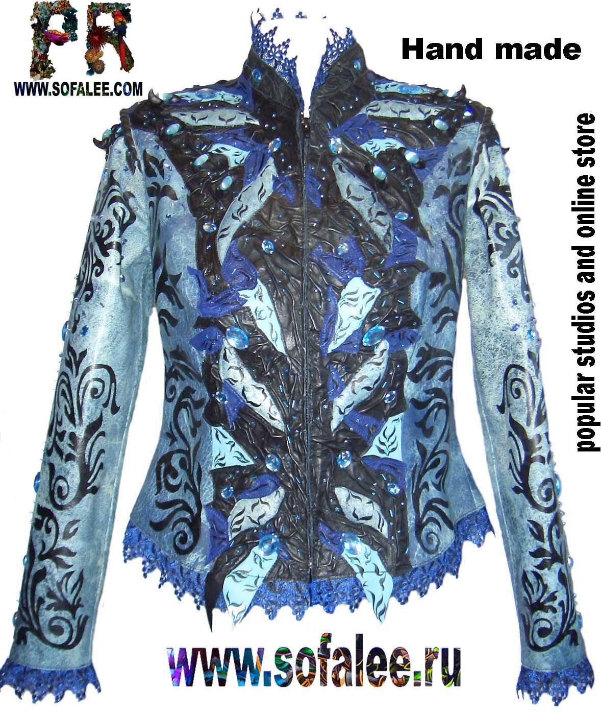 Кожаная куртка синего цвета с кружевами. Jacket of leather