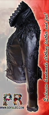 Leather jacket with lace for ladies
