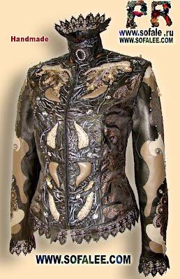 Кружевная куртка из кожи