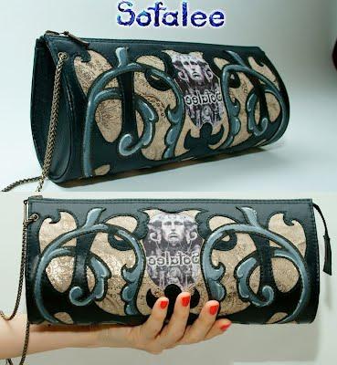 №181 <b>Women's genuine</b> leather clutch with iron chain. - Sofalee ...
