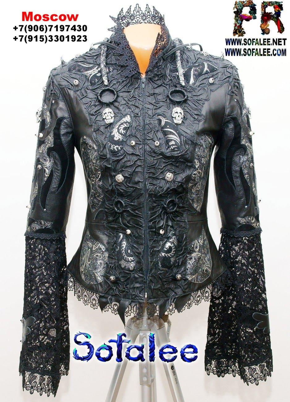куртка из кожи с широкими рукавами 01