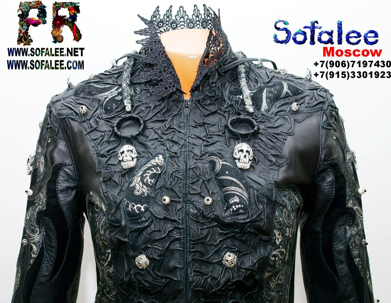 куртка из кожи с широкими рукавами 04
