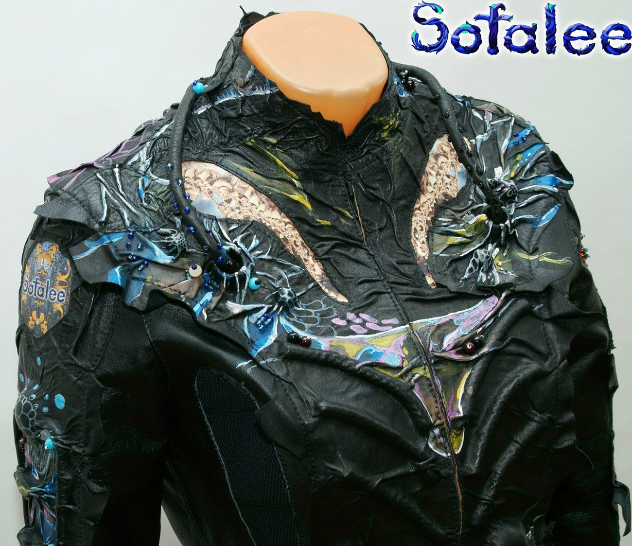 Куртка-жакет женский из кожи в стиле фэнтези 006