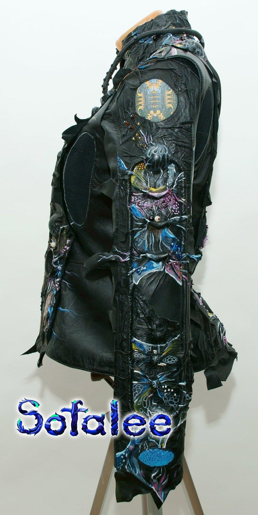 Куртка-жакет женский из кожи в стиле фэнтези 00111