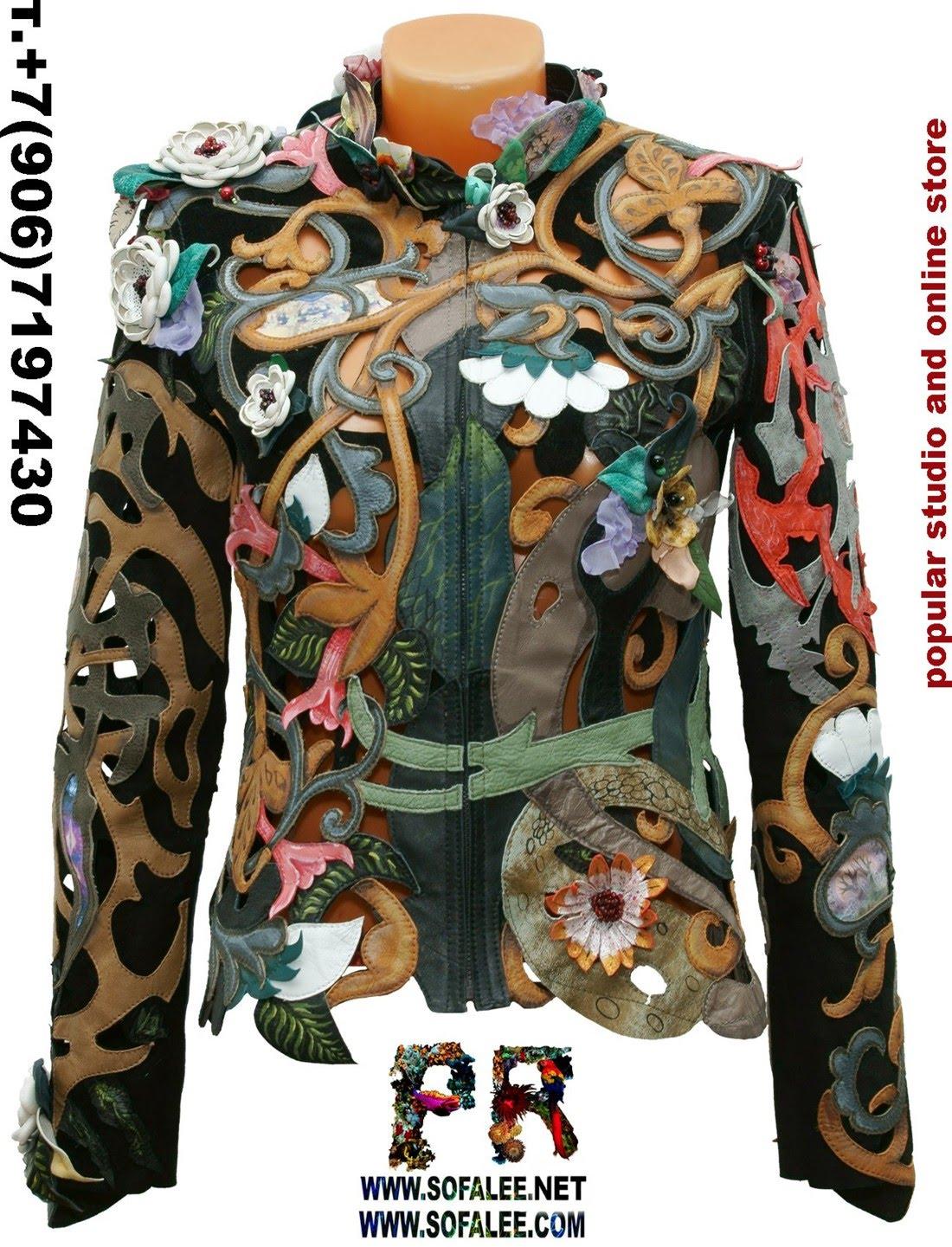 цветочная куртка из кожи с перфорацией 0