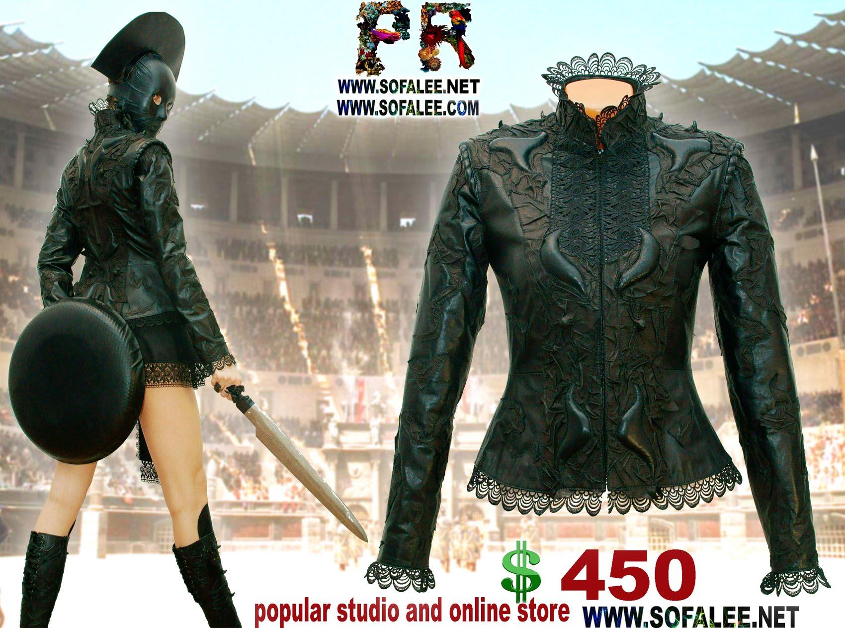 куртка кожаная с кружевами черная