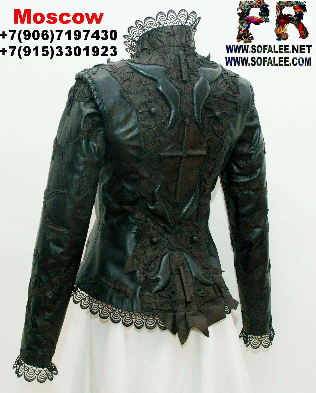 женская куртка кожаная с кружевами черная