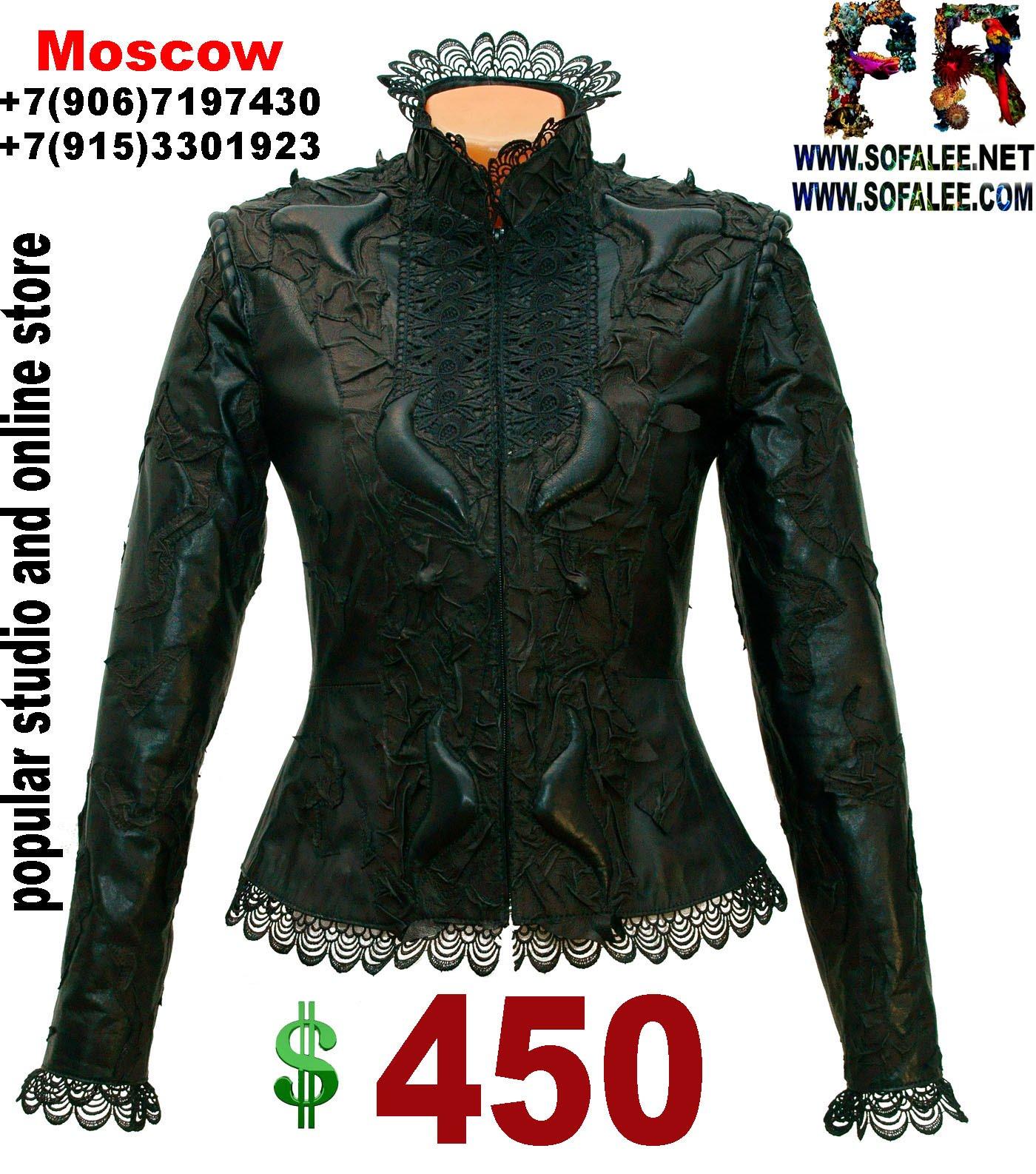 куртка кожаная с кружевами черная 000