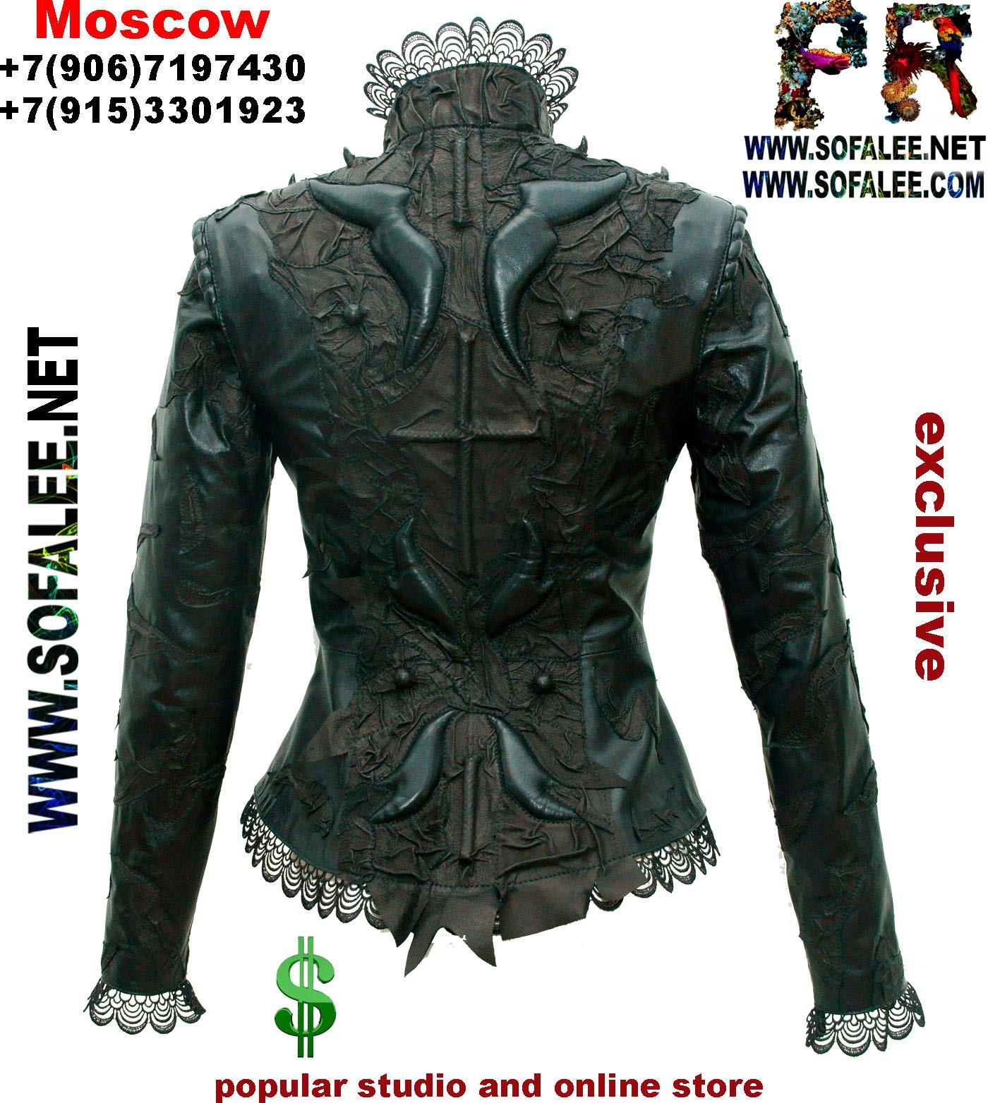 куртка кожаная с кружевами черная 1