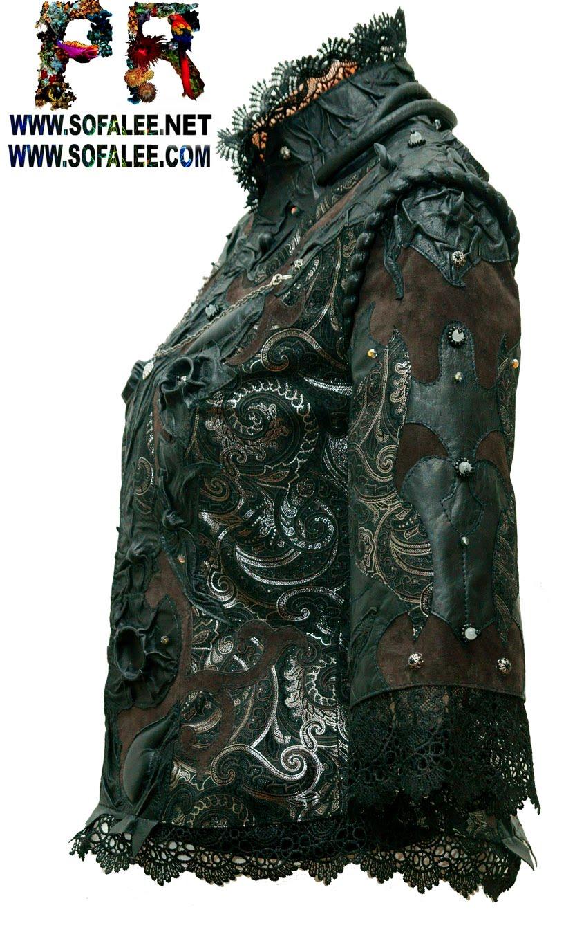 эксклюзивная куртка из кожи с кружевами 001