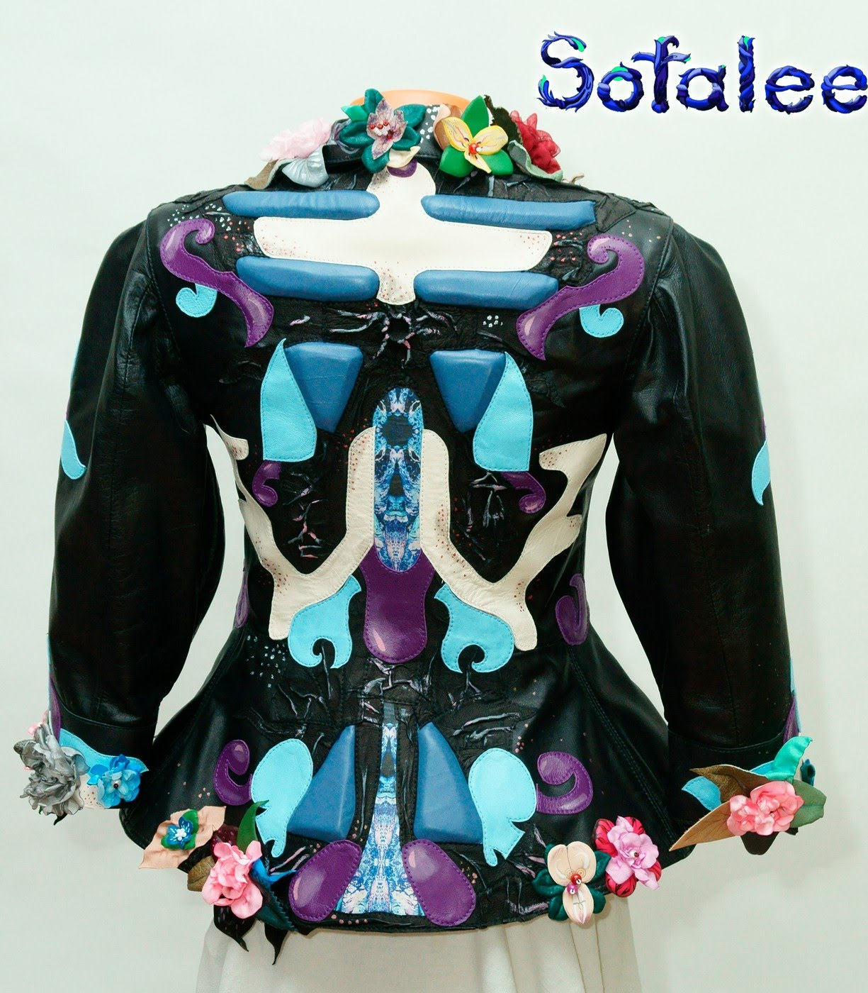 blue black real leather jacket for women 3/4 sleeves 00