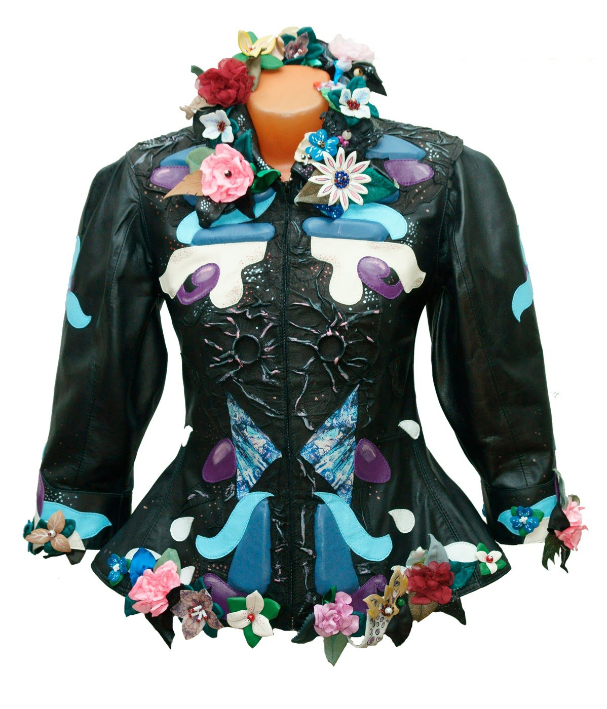 blue black real leather jacket for women 3/4 sleeves 03