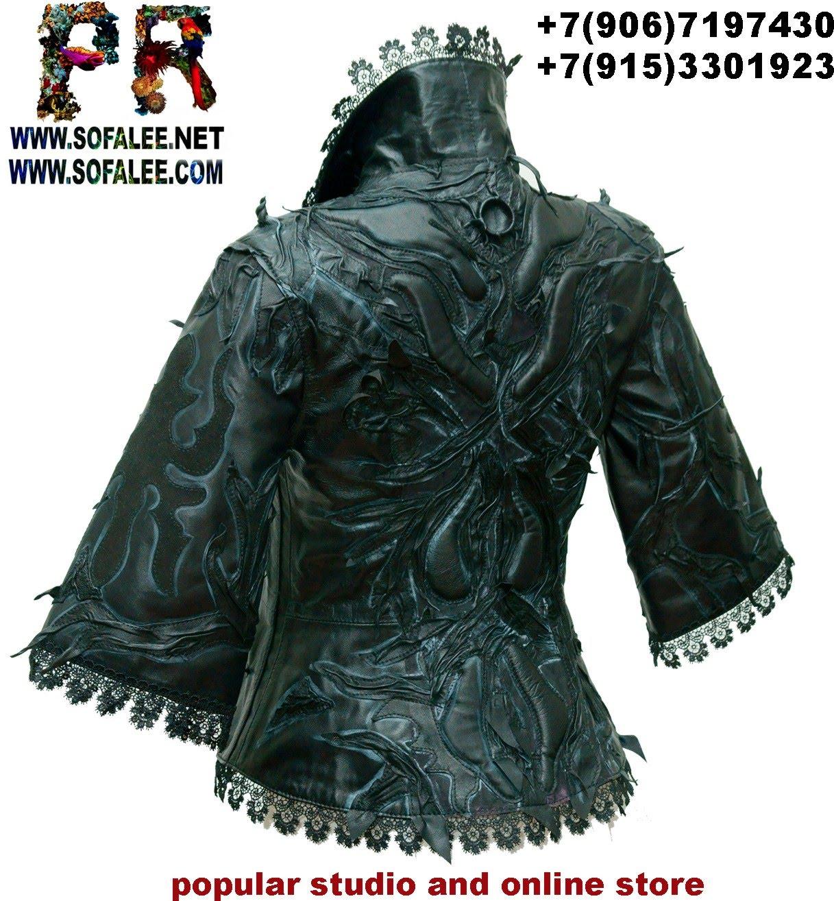 женская кожаная черная куртка 001