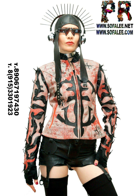куртка женская из натуральной кожи в стиле панк 02