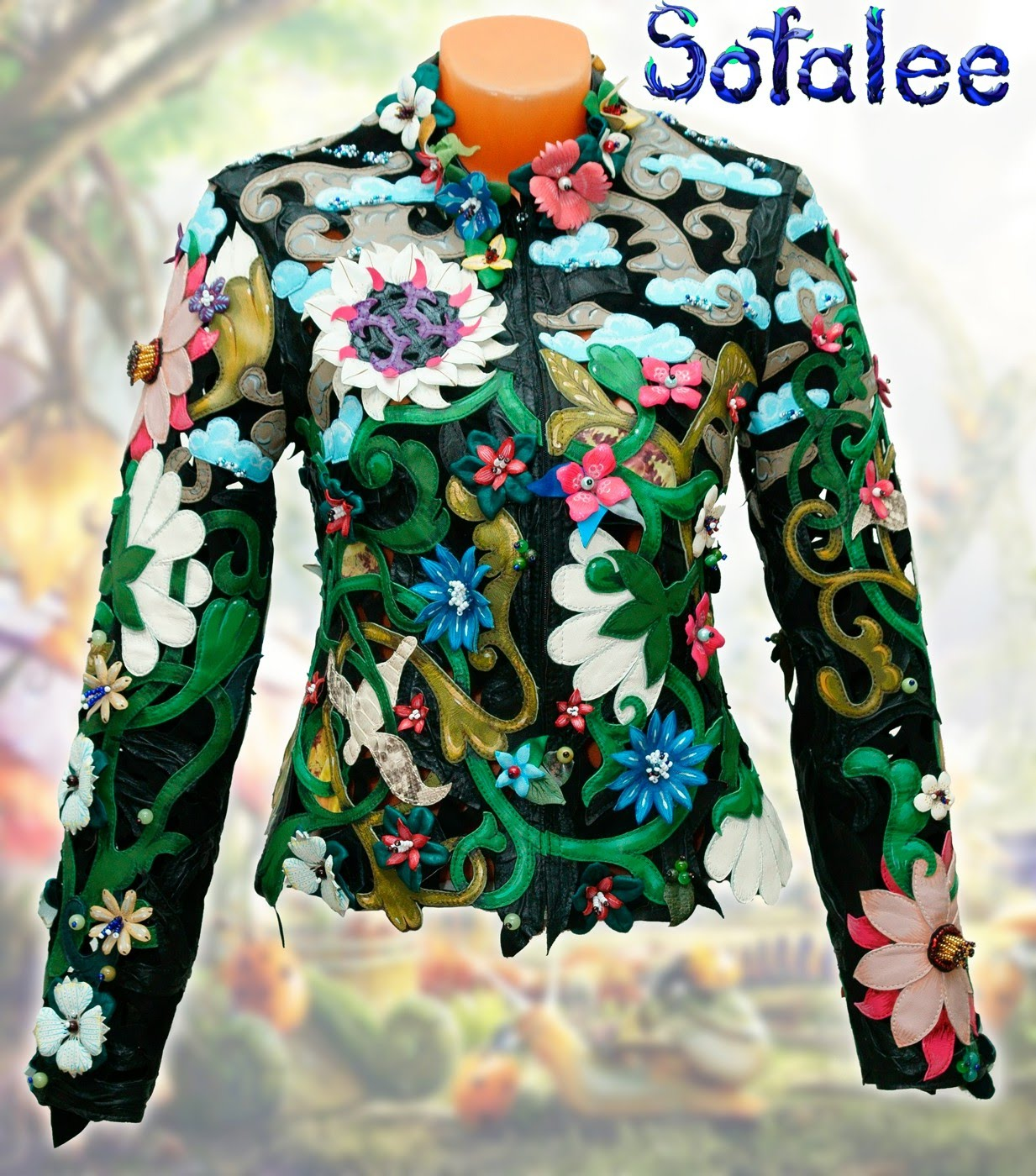 bright womens genuine leather jacket floral style 00000001