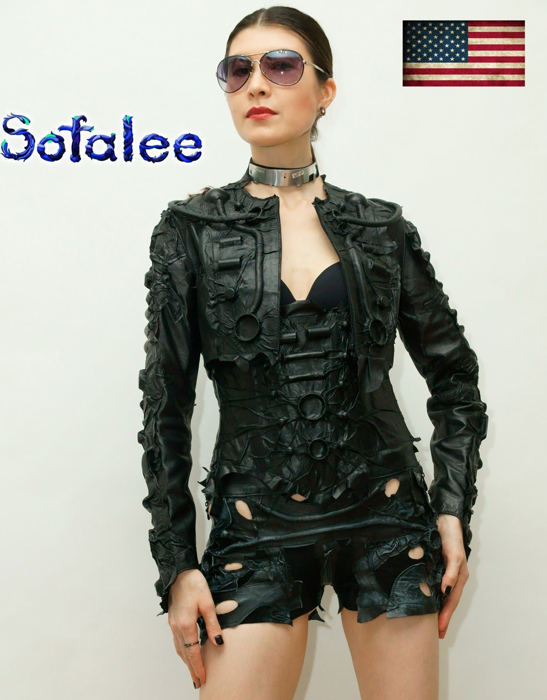 Bolero black genuine leather 000001