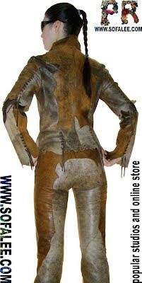Женский кожаный костюм с бахромой