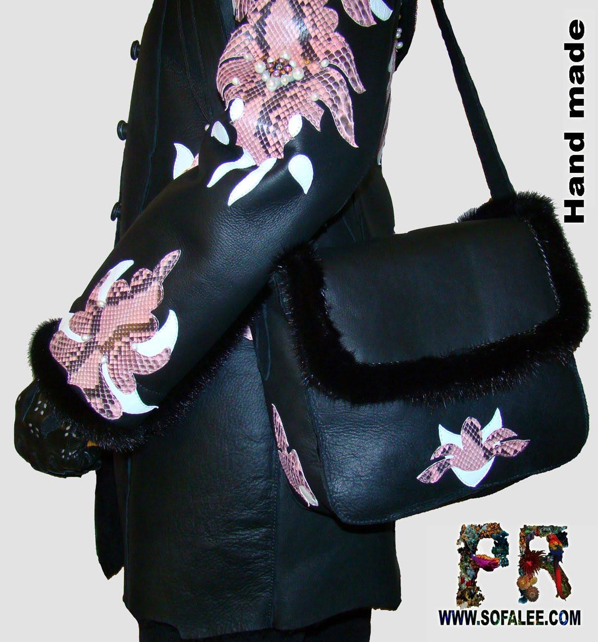 Эксклюзивная дубленка и сумка из питона и норки