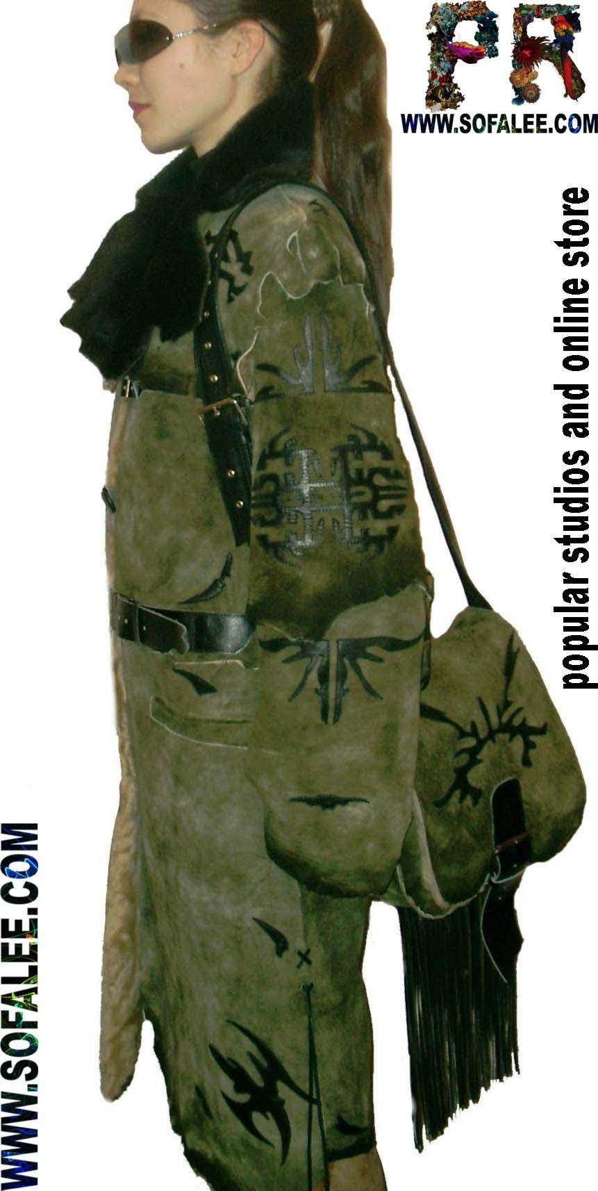 Натуральная дубленка вместе с сумкой из дубленки