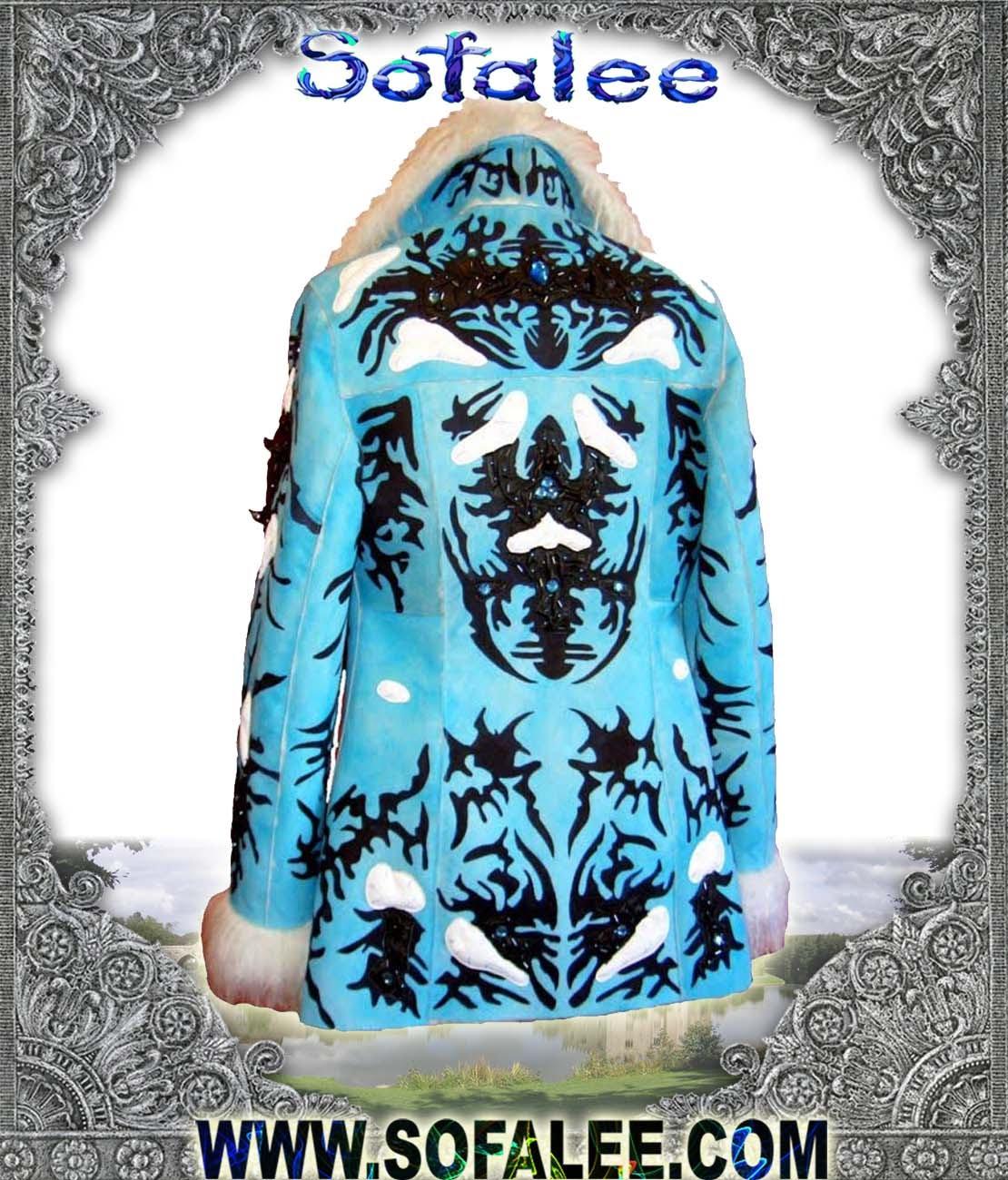 Дубленка женская зимняя голубая!
