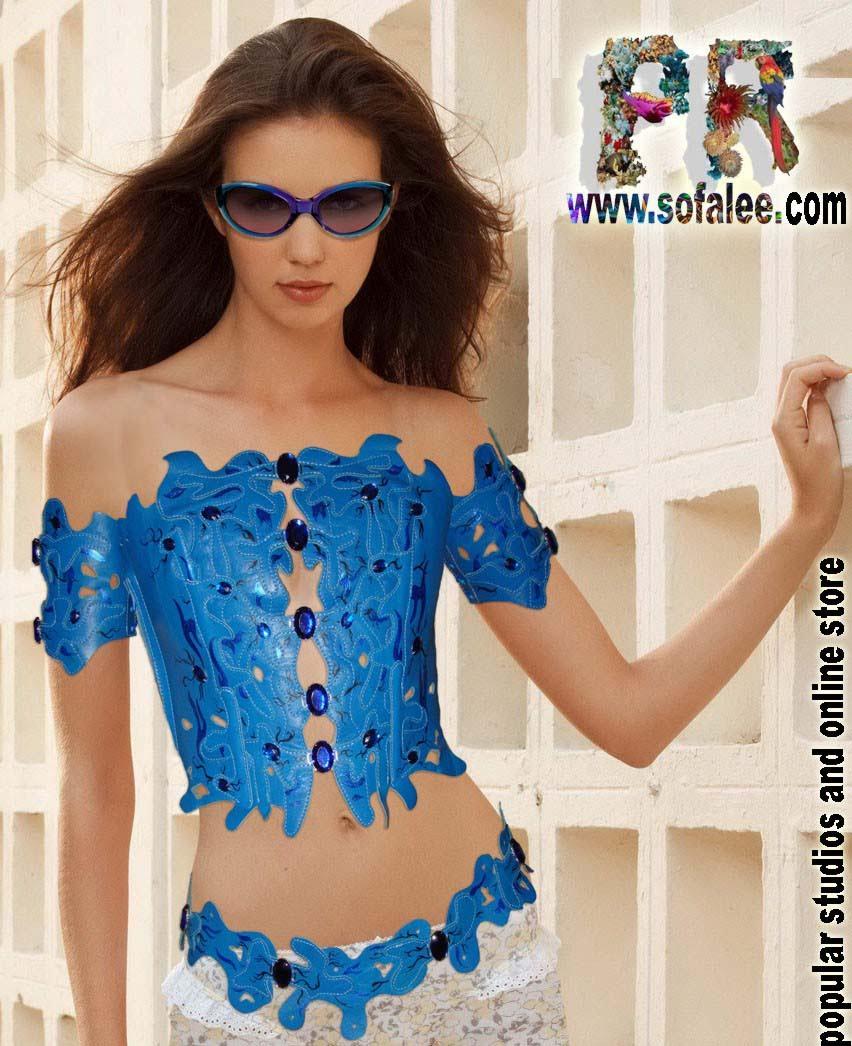 Женский эксклюзивный корсет с браслетами.Womens leather corset with braslets
