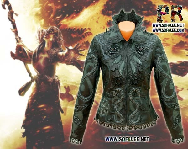 "№208 Black gray jacket for women exclusive handmade by Sofalee genuine leather -""Cersei"" mysticism black magic for the black heart!"