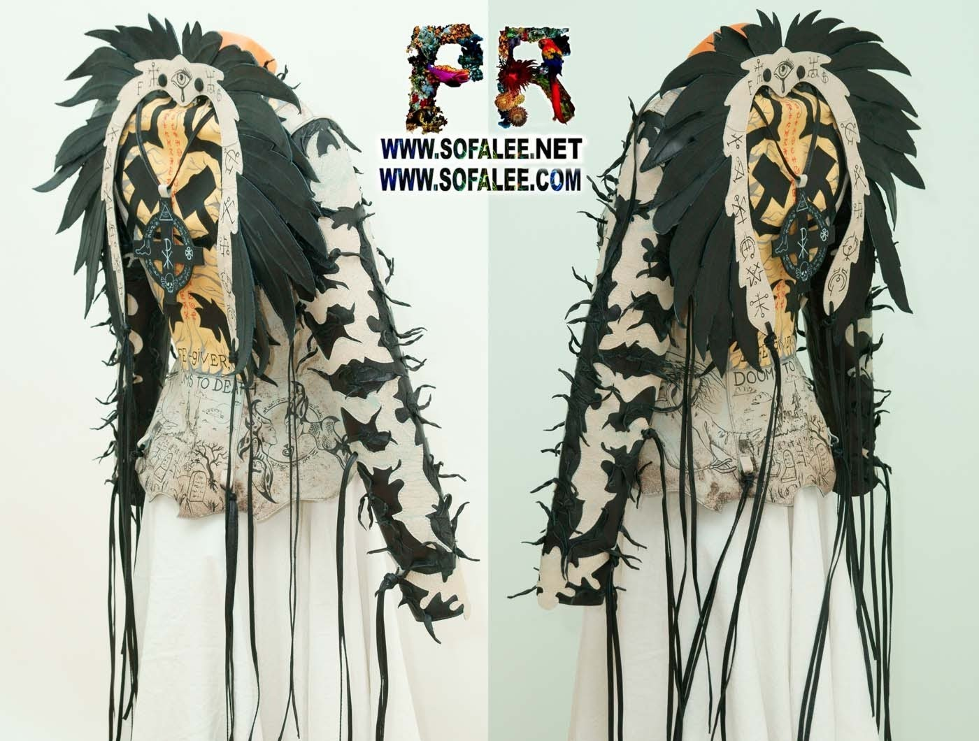 unique real gray leather Jacket wings fringe sofalee 05