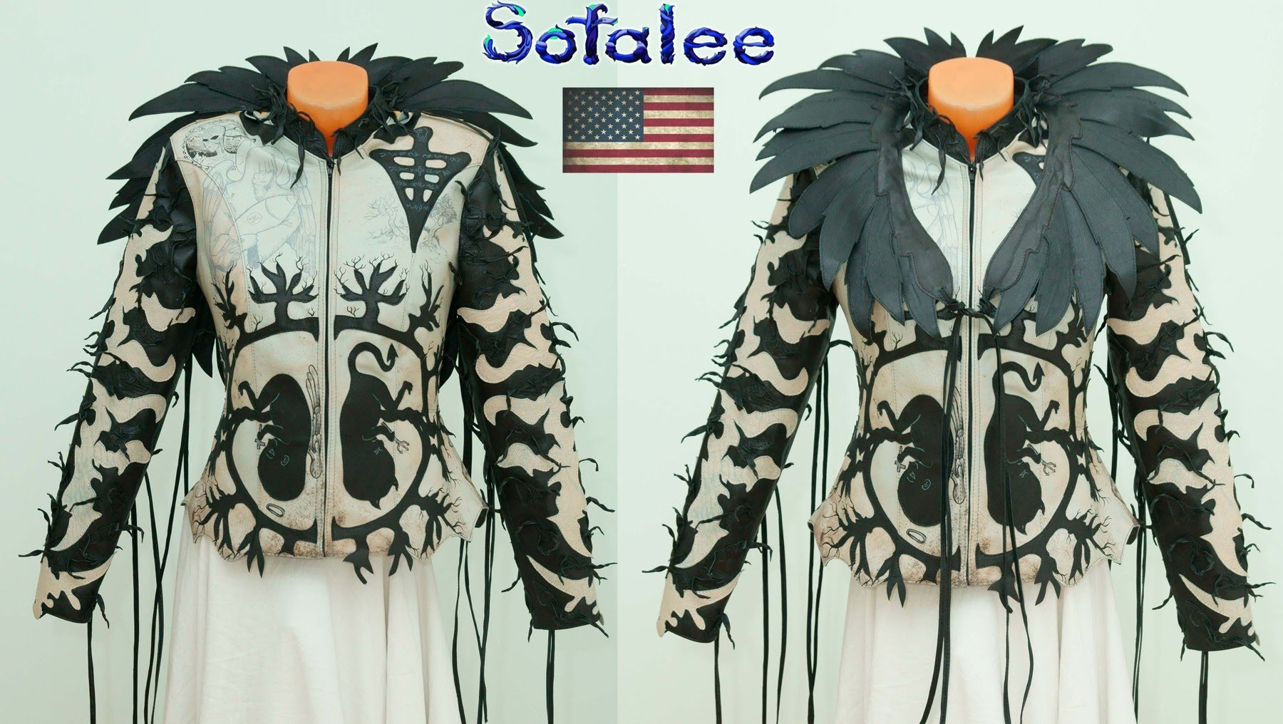 unique real gray leather Jacket wings fringe sofalee 0000