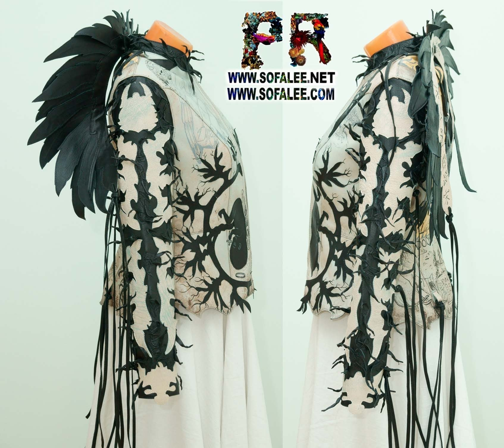 unique real gray leather Jacket wings fringe sofalee 00