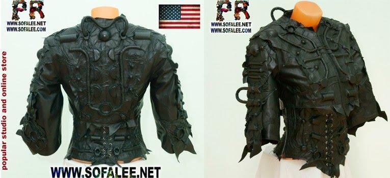№222 Corset Bolero of genuine black leather with lacing.