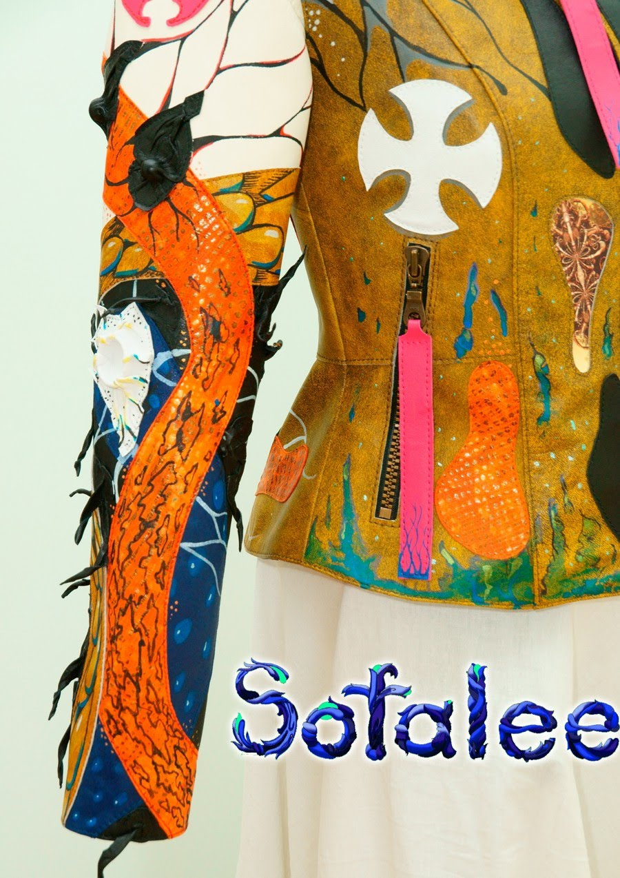 Multicolored womens genuine leather jacket by sofalee 000001