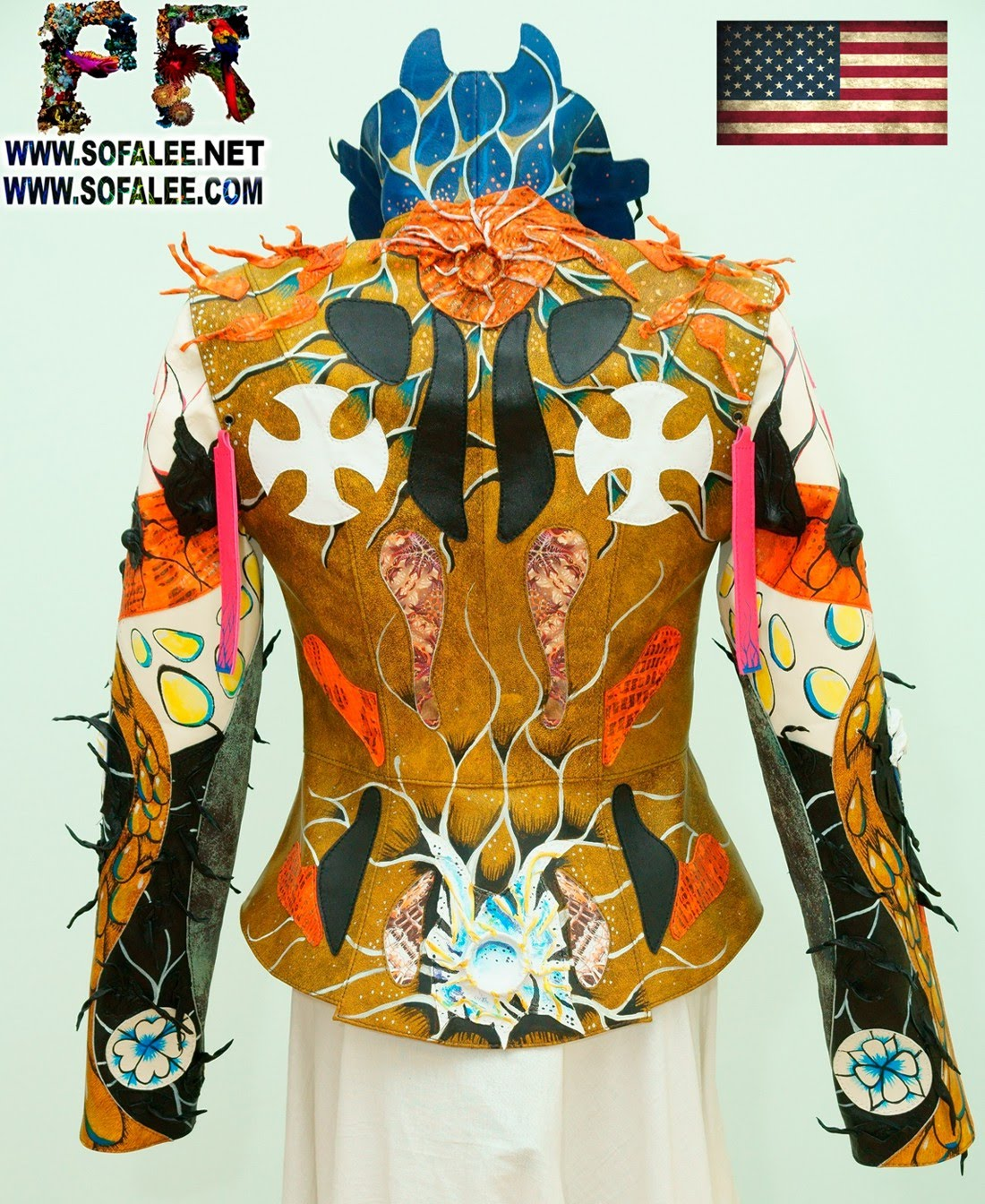 Multicolored womens genuine leather jacket by sofalee 0000
