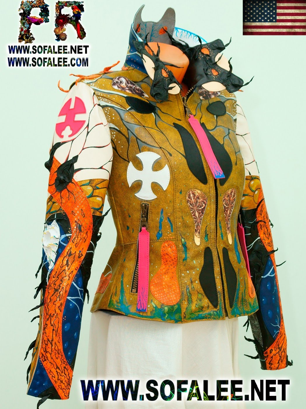 Multicolored womens genuine leather jacket by sofalee 0001