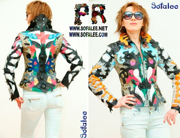 """№221 Women's genuine leather jacket multicolored """" Thoughts of ladies-colonel"""""""