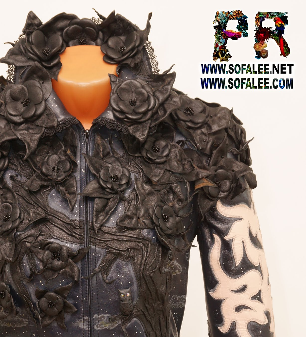 genuine leather jacket black flowers 01