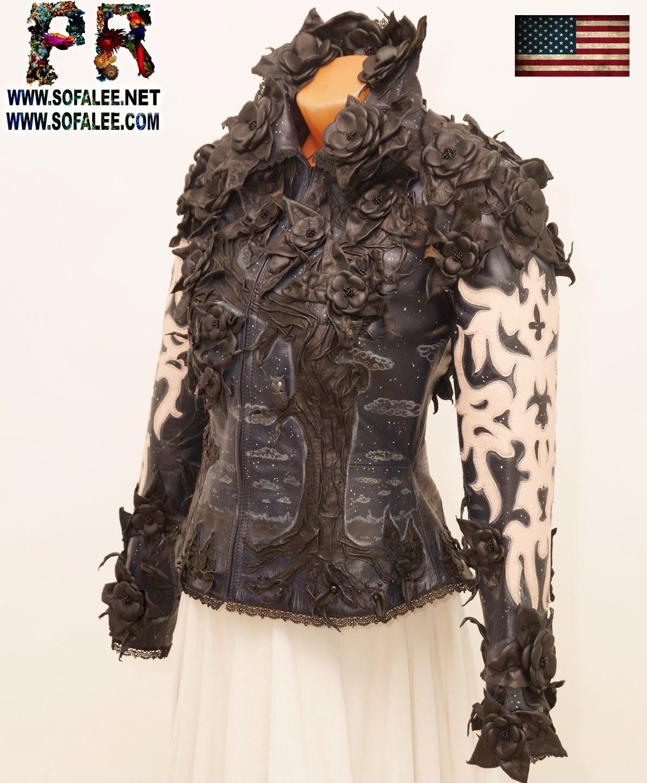 genuine leather jacket black flowers 00001