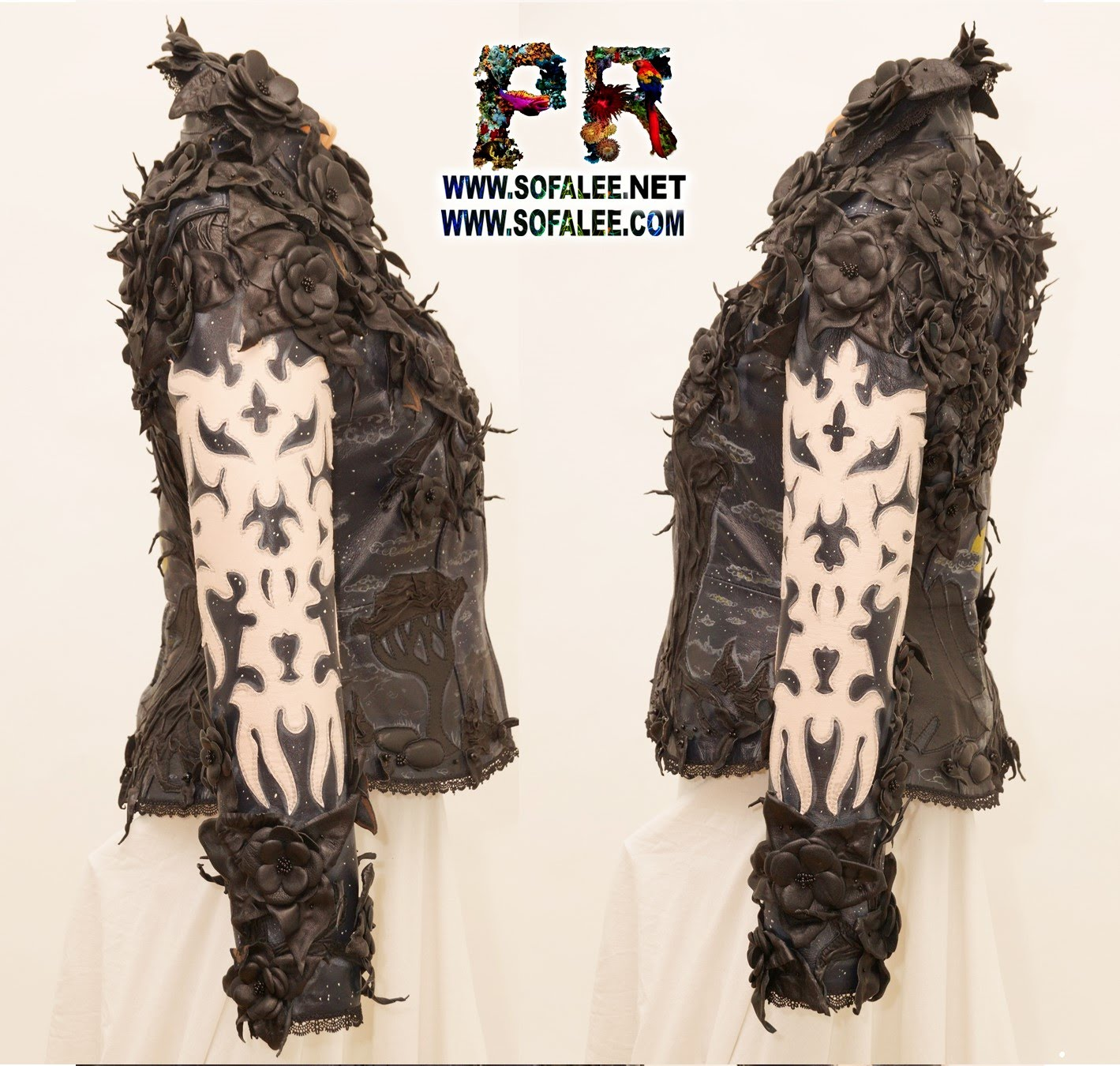 genuine leather jacket black flowers 000
