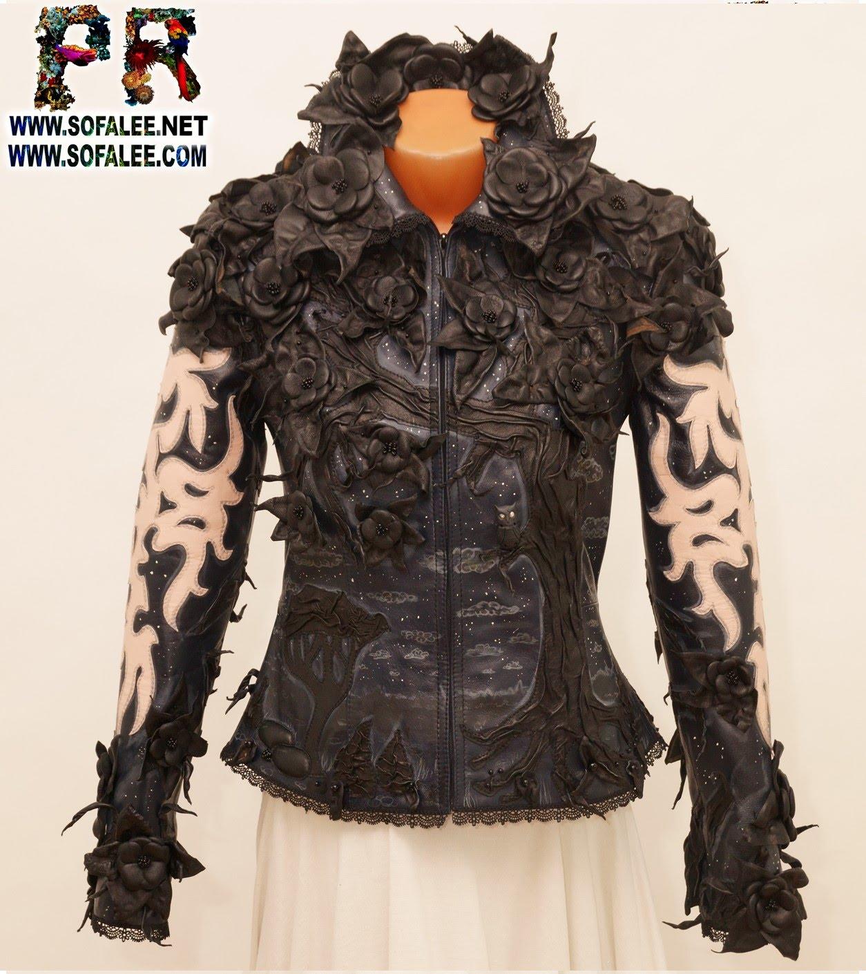 genuine leather jacket black flowers 0