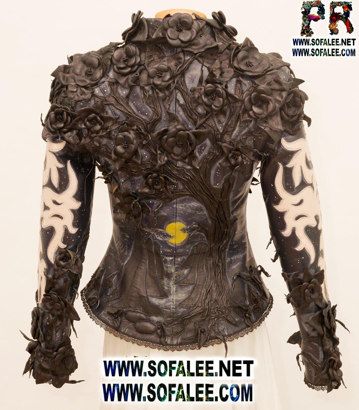 genuine leather jacket black flowers 001