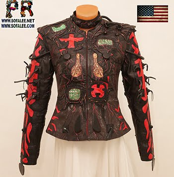 "№224 Cyberpunk genuine leather jacket for women ""BR-3737"""
