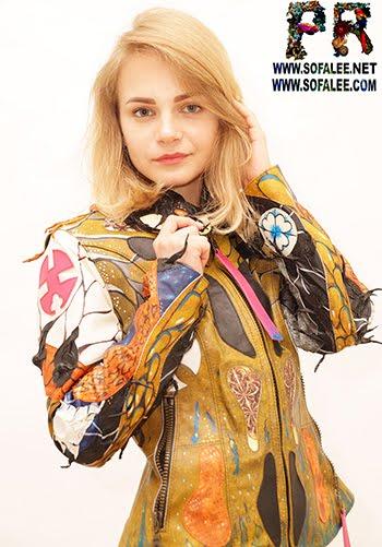"№223 Bright womens jacket of genuine lambskin ""Multiple bright Orgasm"""
