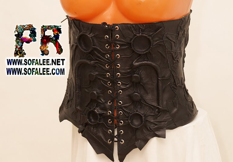 women's real leather black corset collar 0000111